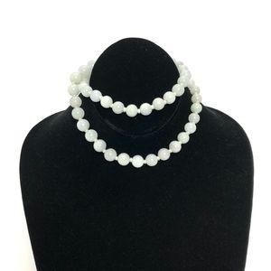 Vintage White Jade Beaded Necklace
